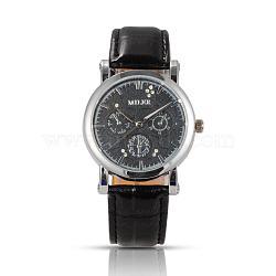 Нержавеющая сталь высокого качества кожа бриллиантами кварцевые наручные часы, чёрные, 240x19 мм; головка часы: 45x40x11 мм(WACH-N008-14D)