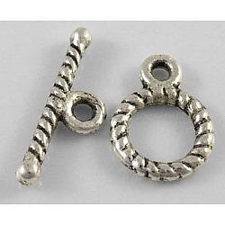 Застежки тоггл в тибетском стиле , кольцо, без свинца и без никеля и без кадмия , античное серебро, Кольцо: 12x9 mm, бар: 16 mm, отверстие : 1.5 мм