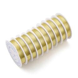 Fil de bijoux en cuivre, Plaqué longue durée, or clair, 21 jauge, 0.7 mm; 3.1 m / rouleau(CWIR-Q006-0.7mm-G)
