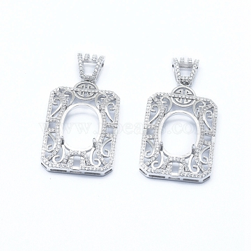 925 Sterling Silver Pendant Claw Cabochon Settings, Prong Settings, with Clear Cubic Zirconia, Rectangle, Platinum, Tray: 18x13mm, 36x23x5.5mm, Hole: 6x4mm(STER-I017-030P)