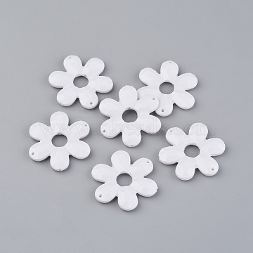 46mm White Flower Acrylic Connectors/Links