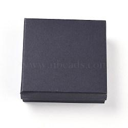 Boîtes à bijoux en papier carton carton rempli de coton kraft, pour bijoux et cadeaux, carrée, noir, 9.1x9.1x2.9 cm(CBOX-G015-05)