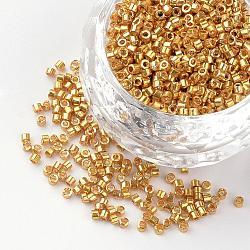 Perles de bugle en verre plaqué, verge d'or, 1~2x1.5~2mm, trou: 0.5 mm; environ 100 g / sac(SEED-R043-09)