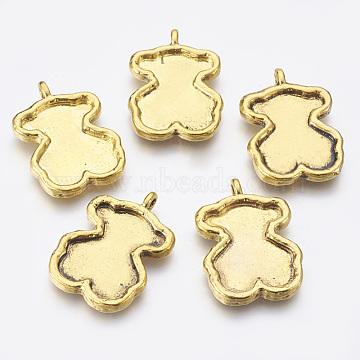 Tibetan Style Bear Pendant Cabochon Enamel Settings, Antique Golden, Lead Free and Cadmium Free, 37x26x4mm, Hole: 2x3mm(TIBEP-EA9925Y-AG-FF)