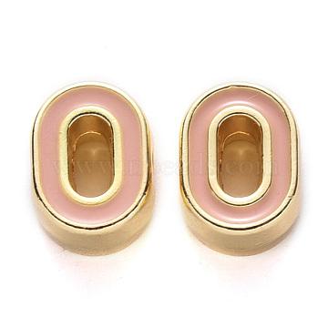 Rack Plating Alloy Enamel Beads, Cadmium Free & Nickel Free & Lead Free, Light Gold, Dark Salmon, Letter.O, O: 10x7.5x4.5mm, Hole: 1.6mm(X-ENAM-S122-033O-NR)