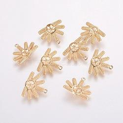 pendentifs en laiton, pour la moitié de perles percées, sans nickel, fleur, véritable plaqué or, plateau: 5 mm; broche: 0.9 mm, 13.5x16x2~6 mm, trou: 1 mm(KK-F803-27G-NF)