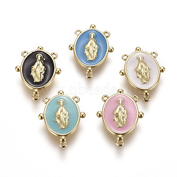 Golden Plated Brass Chandelier Component Links, with Enamel, Oval with Virgin Mary, Mixed Color, 17.5x13x2mm, Hole: 0.8mm(KK-L155-03-G)