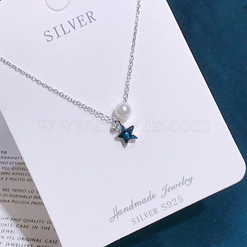 925 Sterling Silver Pendant Necklaces, with Cubic Zirconia and Shell Pearl, with Cable Chains, Star and Round, Blue, Platinum, 15.74 inches(40cm)(NJEW-BB34773-P)