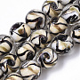 Handmade Gold Sand Lampwork Beads Strands, Round, Black, 11.5~12.5x11~12mm, Hole: 1.2mm; about 45pcs/Strand, 20.08''