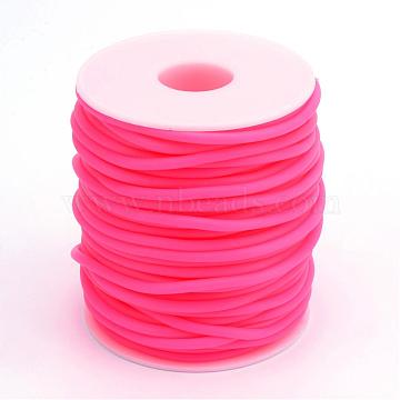 Hollow Pipe PVC Tubular Synthetic Rubber Cord, Wrapped Around White Plastic Spool, Deep Pink, 2mm, Hole: 1mm, about 54.68 yards(50m)/roll(RCOR-R007-2mm-02)