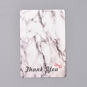 Cardboard Display Cards, Used For Necklace, Marble Texture Pattern, Rectangle with Word Thank You, White, 75x50x0.3mm, Hole: 8mm and 2mm(X-CDIS-L005-09)