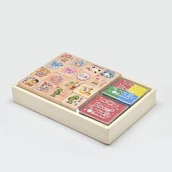 Bande dessinée encourageants jeux de mots de tampon encreur en bois, couleur mixte, 13x9x2.2 cm; tampon encreur: 2x2x2.1 cm(AJEW-N013-01)