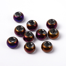 Large Hole Rondelle Glass European Beads, No Metal Core, Indigo, Size: about 15mm in diameter, 10mm thick, hole: 5mm