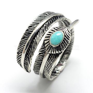 Enamel Adjustable Alloy Finger Rings, Leaf, Size 8, Antique Silver, 18mm(X-RJEW-S038-008)