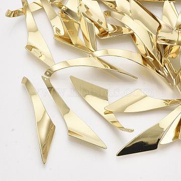 Iron Pendants, Twist, Light Gold, 43x15.5x1mm, Hole: 1mm(X-IFIN-T011-30LG)