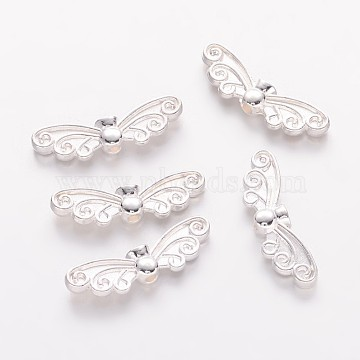 Alloy Beads, Lead Free & Cadmium Free & Nickel Free, Wing, Silver Color Plated, 6.5x22x3.5mm(X-PALLOY-B0358-S-NR)