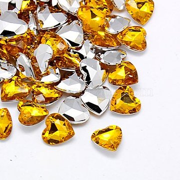 Imitation Taiwan Acrylic Rhinestone Cabochons, Pointed Back & Faceted, Heart, Gold, 18x18x6.5mm(GACR-A018-18x18mm-11)