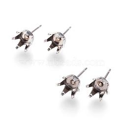 304 Stainless Steel Post Stud Earring Settings, Prong Earring Setting, Stainless Steel Color, Tray: 4.5~6mm; 5.5x7~8mm; Pin: 0.7mm(X-STAS-L207-10B)