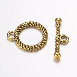 Fermoirs anneau en alliage, anneau, Or antique, anneau: 16x14x2 mm, Trou: 2mm, bar: 18.5x5.5x2.5 mm, Trou: 2mm(PALLOY-G117-06AG)