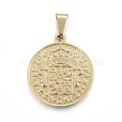 Pendentifs de pièce de monnaie en 304 acier inoxydable, hispan et ind rex coin, or, 29x25x2.5mm, Trou: 5x7.5mm(STAS-F183-01G-A)