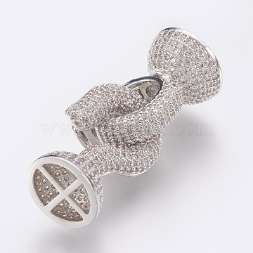 Brass Micro Pave Cubic Zirconia Fold Over Clasps, Lead Free & Cadmium Free, Clear, Platinum, 38mm; Clasp: 22x14mm(ZIRC-F083-115P-01-RS)