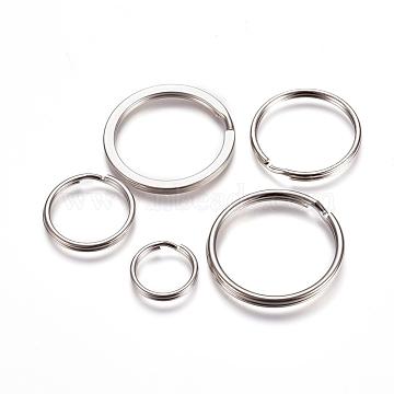 Iron Split Key Ring, Keychain Clasp Findings, Platinum, 15~30x2~2.9mm, Inner Diameter: 12~25.8mm; about 50pcs/50g(KEYC-XCP0001-03P)