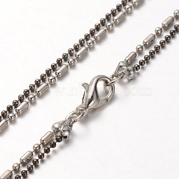 Iron Chains for Necklace Making, with Brass Ball Chains, Alloy Lobster Claw Clasps and Iron End Chains, Mixed Color, 29.5inches(MAK-J004-26A)