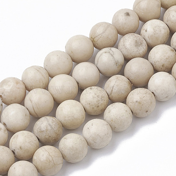 8mm Round Fossil Beads