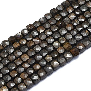 Natural Bronzite Beads Strands, Cube, Faceted, 6~6.5x6~6.5x6~6.5mm, Hole: 1mm; about 58pcs/Strand, 15.55 inches(39.5cm)(G-K310-B18)