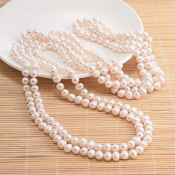 Natural Pearl Beads Necklace, Misty Rose, 47.2 inches(NJEW-P126-A-06)