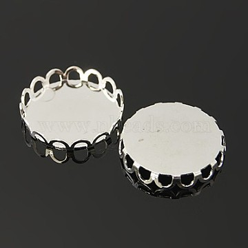 Brass Lace Edge Bezel Cups, Cabochon Settings, Cadmium Free & Lead Free, Flat Round, Silver Color Plated, Tray: 18mm(X-KK-C1764-5-S)