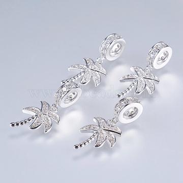 24mm Tree Brass+Cubic Zirconia Dangle Beads