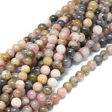 Natural Rhodonite Beads Strands, Round, 6mm, Hole: 1mm; about 62pcs/strand, 15.16inches(38.5cm)(X-G-G828-02-6mm)