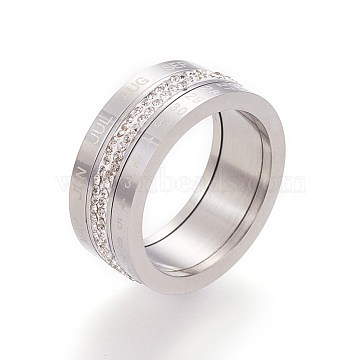 Rotatable 304 Stainless Steel Finger Rings, Wide Band Rings, with Polymer Clay Rhinestone, Number & Month, Stainless Steel Color, Size 6~10, 16~20mm(RJEW-L084-01P)