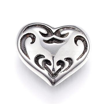316 Surgical Stainless Steel Cufflinks, Heart, Antique Silver, 15x17.5x7.5mm; Pin: 1mm(STAS-G106-39AS)