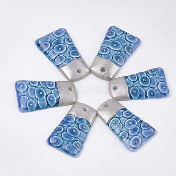 Handmade Porcelain Pendants, Trapezoid, Blue, 46~47.5x27~28x7~8mm, Hole: 3~4mm(PORC-T002-54)
