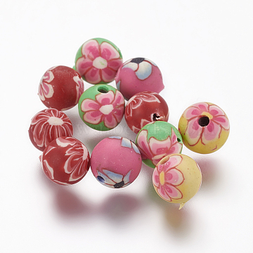 Handmade Polymer Clay Round Beads, with Flower Pattern, Mixed Color, 6x6mm, Hole: 1mm(X-CLAY-Q217-21)