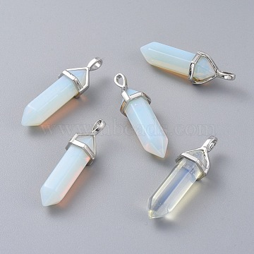 Opalite Double Terminated Pointed Pendants, with Platinum Tone Brass Findings, Bullet, 37~41x12~13x10~11mm, Hole: 2.5~4x4.5~5.5mm(G-E364-A11)