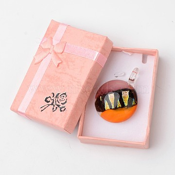 Box-packed Handmade Dichroic Glass Pendants, Half Round Lampwork Pendant with Random Color Exquisite Cardboard Necklace Box, Orange, 29~31x11.5~12.5mm, Hole: 5~7mm(DICH-X039-04)