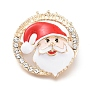 Golden Plated Alloy Brooches, with Crystal Rhinestone and Enamel, Santa Claus Head, for Christmas, Colorful, 38.5x35.5x13.5mm, Pin: 0.8mm