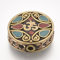 Handmade Indonesia Beads, with Brass Findings, Flat Round with Ohm, Golden, DarkTurquoise, 22x21x9mm, Hole: 2mm(X-IPDL-S053-188B)