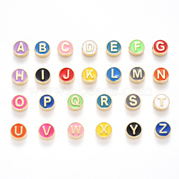Alloy Enamel Beads, Cadmium Free & Lead Free, Alphabet, Letter A~Z, Light Gold, Mixed Color, 8x4mm, Hole: 1.5mm; 26pcs/set(ENAM-YW0001-23-RS)