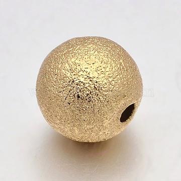 Brass Round Textured Beads, Golden, 10mm, Hole: 2mm(KK-L051-01)