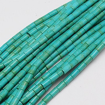Synthetic Turquoise Beads Strands, Dyed, Column, Light Sea Green, 6x4mm, Hole: 1mm, about 64pcs/strand, 15.5 inches(X-TURQ-G120-4x6mm-13)