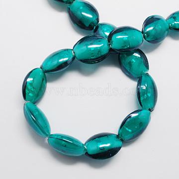 Handmade Silver Foil Glass Beads, Oval, , Dark Cyan, 20x16x9mm(FOIL-R062-1)