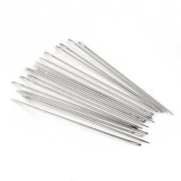 Iron Tapestry Needles, Platinum, 126x1.8mm, Hole: 6x1mm; about 20pcs/bag(IFIN-R219-13)