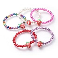 """Bracelets extensibles pour enfants, avec perle imitée acrylique et perles de fruits en pâte polymère, fraise, couleur mixte, 1-7/8"""" (4.7 cm)(BJEW-JB04617-M)"""