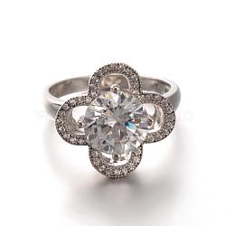 argent sterling ouvrir les anneaux d'engagement cubes de fleurs de zircone, taille 6, plaqué argent, 16 mm(RJEW-M081-08-16mm)