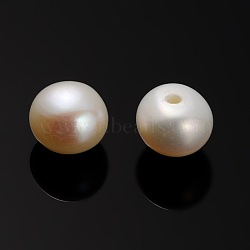 Natural Cultured Freshwater Pearl Beads, Half Drilled, Rondelle Bisque, 5.5~6x0.8mm, Hole: 5mm(PEAR-E001-14)