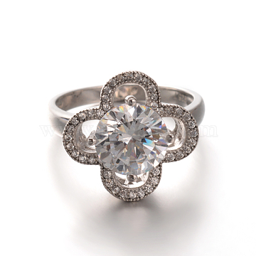 Sterling Silver Pave Cubic Zirconia Flower Engagement Rings, Size 6, Silver Color Plated, 16mm(RJEW-M081-08-16mm)